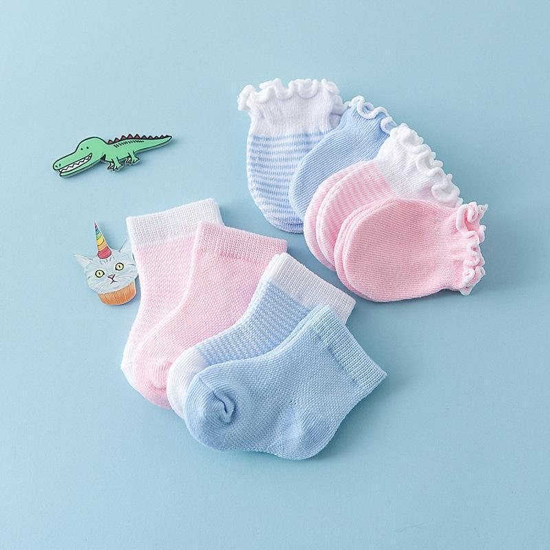 newborn pink or blue gloves socks set