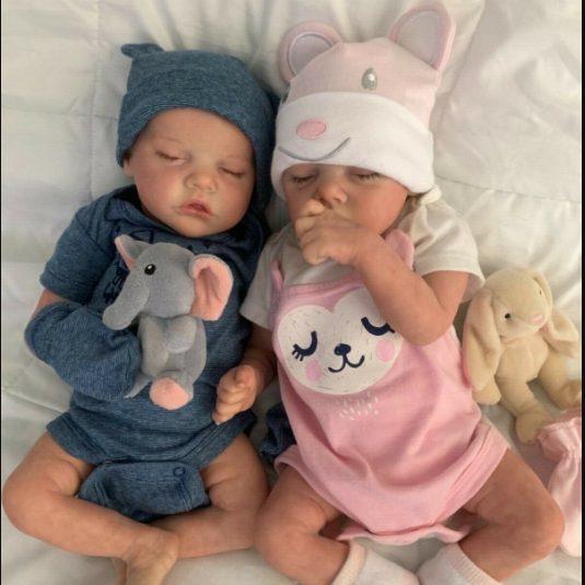 "17"" Lifelike Realistic Twins Sister Katelyn and Cameron Reborn Baby Doll Girl"