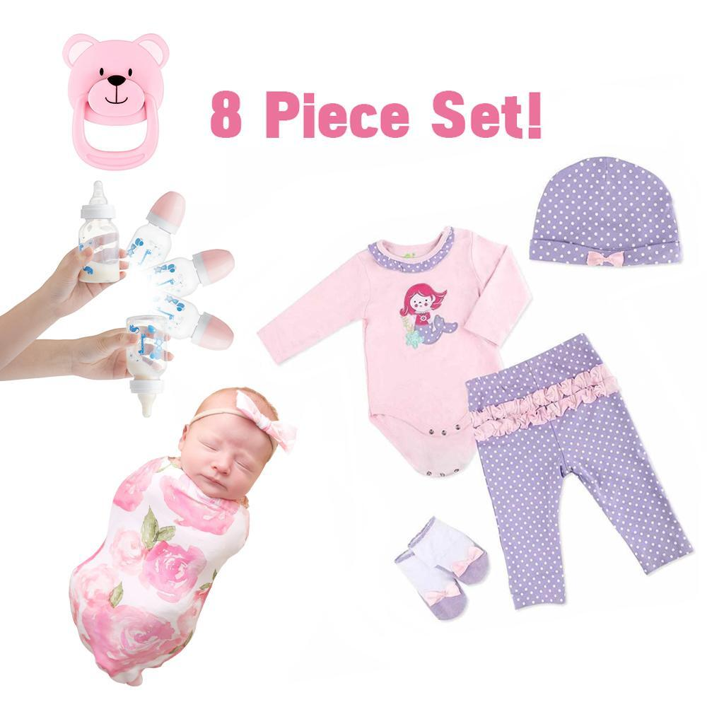 """[Suitable for 12"""" Mini doll]Adorable Adoption Reborn Baby Essentials-8pcs Gift Set A"""