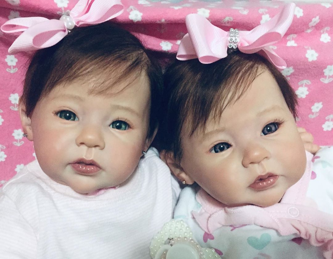 "20 "" Real Lifelike Twins Sister Fidelia and Fiona Reborn Baby Doll Girl"