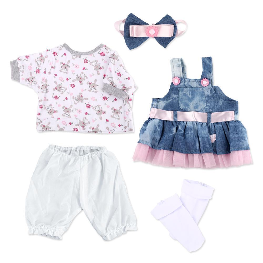 "Reborn Baby Dolls Clothes Denim Dress Suit for 20""- 22"" Reborn Doll Girl Baby Clothing Baby Sets Reborn Dolls Matching Clothing 4 pcs Set"