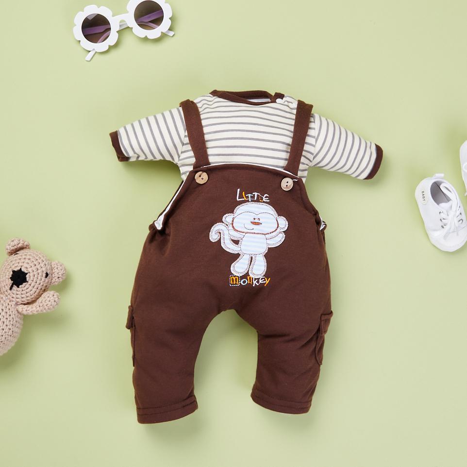 "Brown Striped T Plus Brown Monkey Strap Skirt for 22"" reborn baby doll boy/girl"