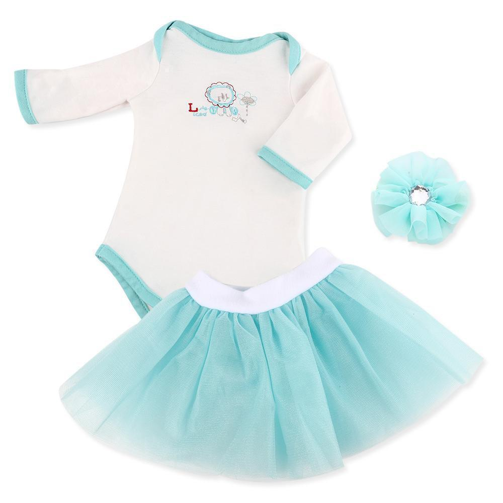"""Doll Clothing Suit White Romper Jumpsuit Dress Socks Outfits for 20""""-22 """" Reborn Baby Girl Doll"""