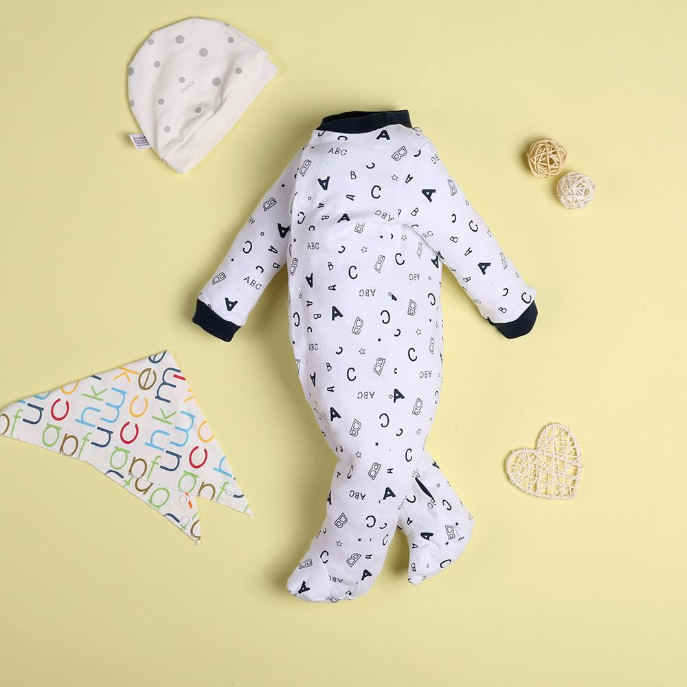 """Casual White Letter Jumpsuit for 22"""" reborn baby doll boy"""