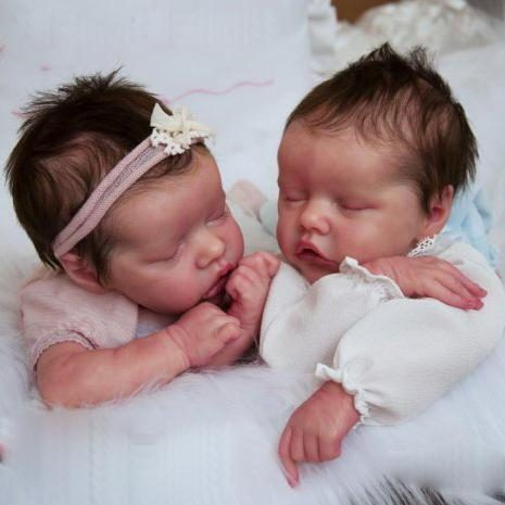 17″ Sweet Sleeping Dreams Reborn Twins Sister Maren and Monica Truly Baby Doll Girl, Birthday Gift