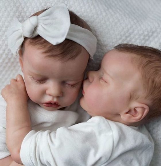 17″ Sweet Sleeping Dreams Reborn Twins Sister Zenobia and Kendall Truly Baby Girl, Birthday Gift