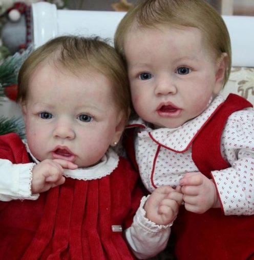22″ Twins Ann and Alva Reborn Baby Doll Girl, Gift
