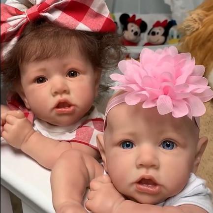 "22"" Twin Sister Erica and Adele Reborn Baby Doll Girl, Lifelike Realistic Doll"