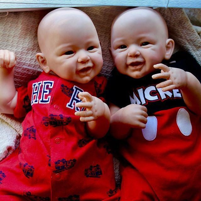 """Realistic 21"""" Twins Brother Folasade and Courtney Reborn Baby Doll"""