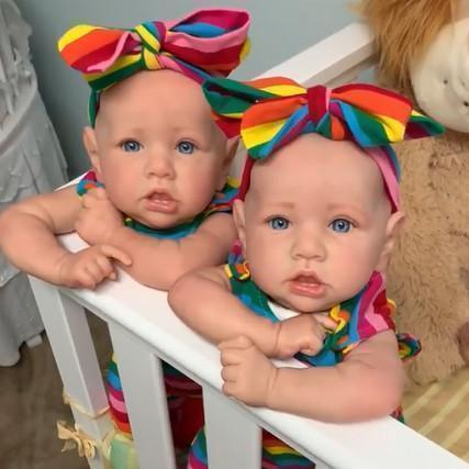 """22"""" Twin Sisters Kids Reborn Lover Veda and Sariah Reborn Baby Doll Girl,Quality Realistic Handmade Babies Dolls"""