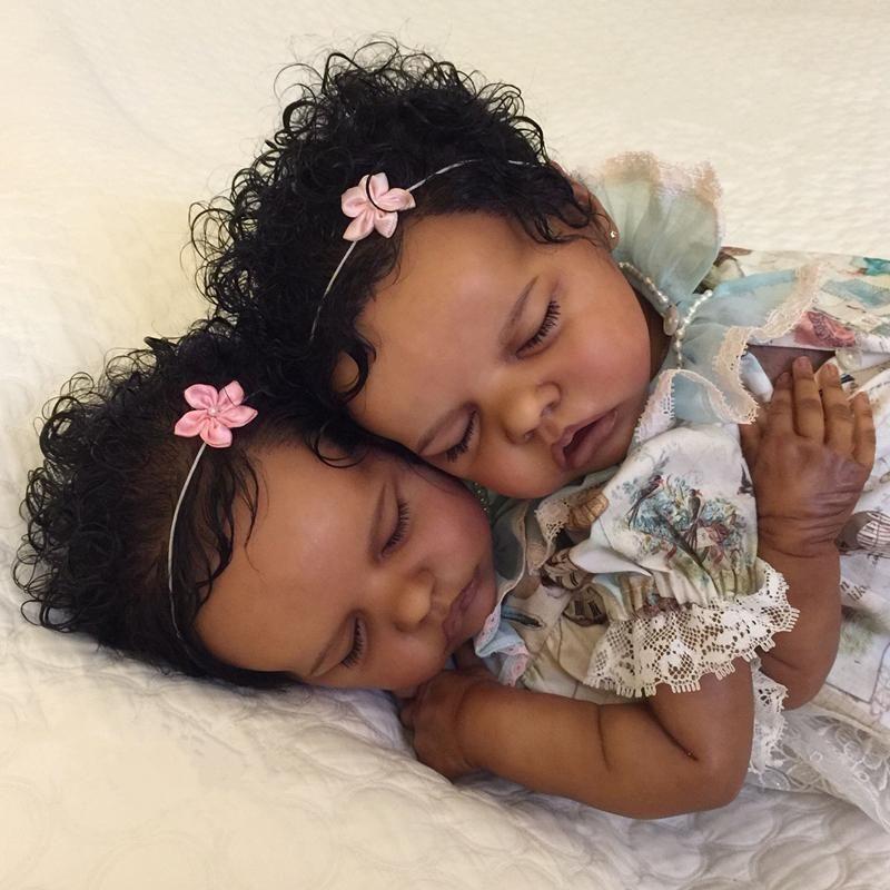 "[TWINS]17 "" Real Lifelike Twins Sister Atalanta and Celeste Reborn Baby Doll Girl"