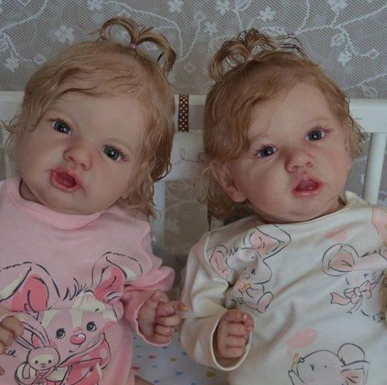 "22"" Lifelike twin Maegan and Ysandre Reborn Baby Girls"