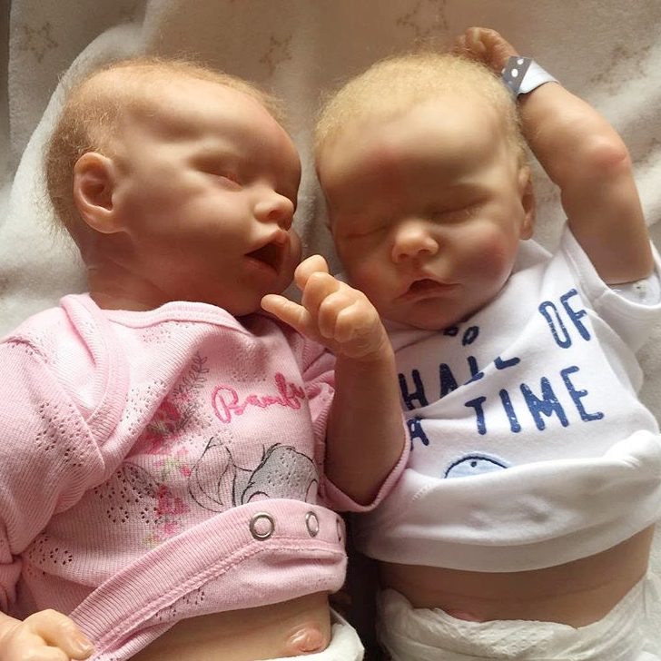 17inch Truly Look Real Reborn Twins Baby Girl Dolls Nieve and Oria, Birthday Gift
