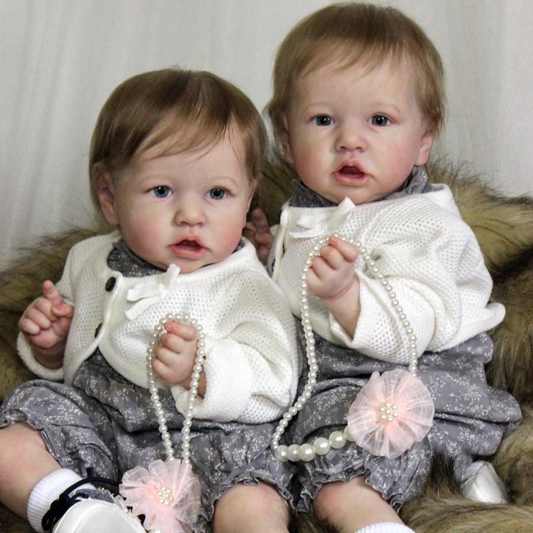 "22"" Twin Sisters Truly Katia and Belinda Reborn Baby Doll Girl,Quality Realistic Handmade Babies Dolls"