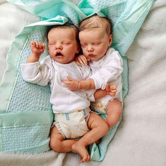 17inch Truly Look Real Reborn Twins Baby Girl Dolls Alessia and Alexiane, Birthday Gift