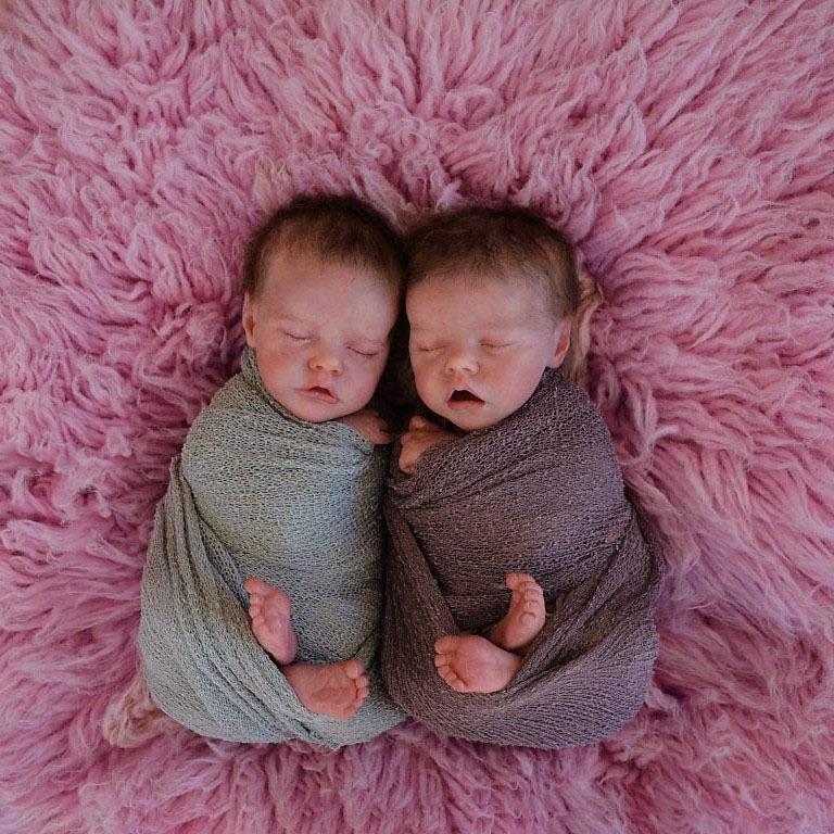 "17 "" Real Lifelike Twins Sister Aidan and Nadia Reborn Baby Doll Girl"