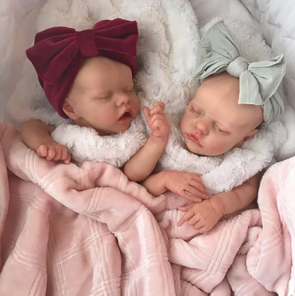 17″ Sweet Sleeping Dreams Reborn Twins Sister Elsie and Frances Truly Baby Girl, Birthday Gift