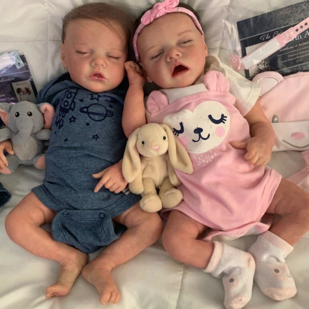 "17 "" Real Lifelike Twins Sister Daphne and Lloyd Reborn Baby Doll Girl"