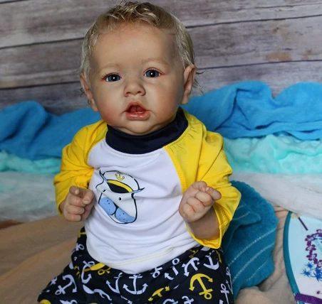 22″Kids Play Gift Ruby Reborn Saskia Baby Doll Boy, Realistic&Lifelike Newborn Baby Dolls