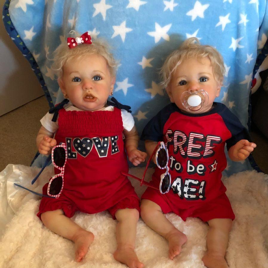 "22"" Realistic Twins Sister Tameka and Klein Reborn Baby Girls,Quality Realistic Handmade Babies Dolls"