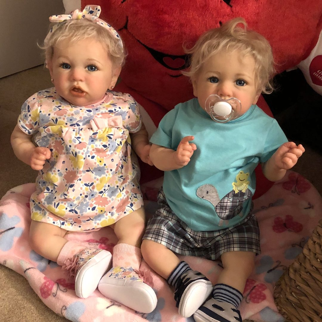 """22"""" Realistic Reborn Twins Sister Marrisa and Rosson Truly Baby Doll Girl, Birthday Gift"""