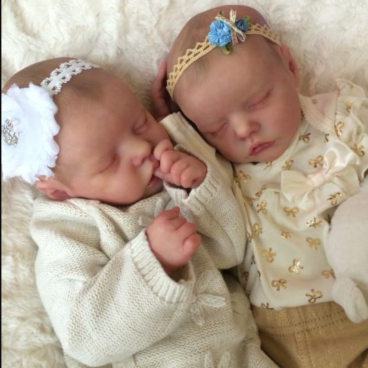 """17"""" SoftTouch Real Lifelike Twins Sister Lexi and Allie Reborn Baby Doll Girl"""