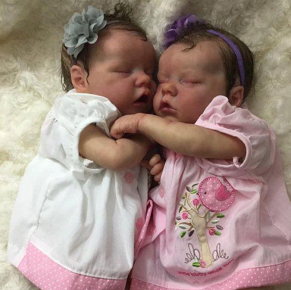 """17"""" Real Lifelike Twins Olga and Cortney Reborn Baby Doll Girl"""