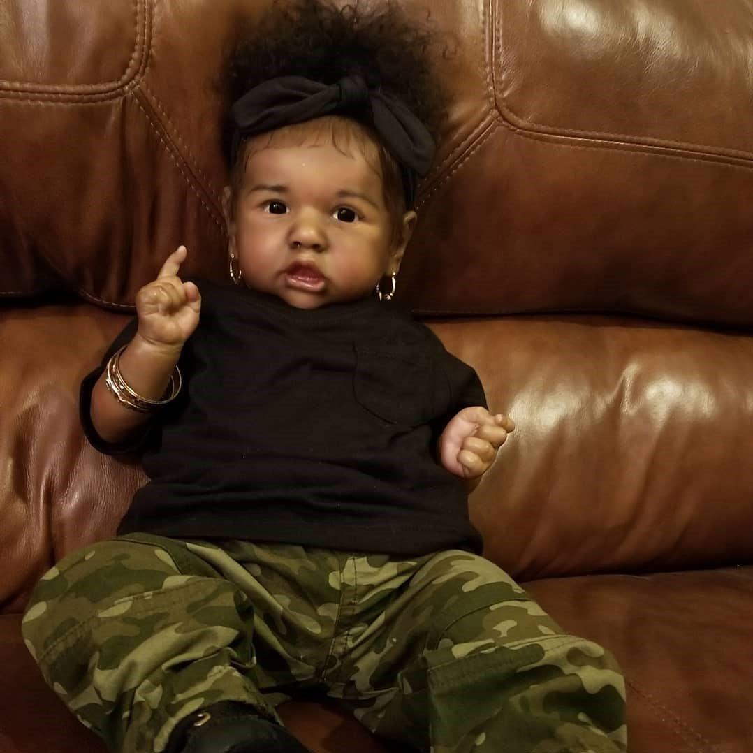 "22"" African American Reborn Baby Doll Girl Tisha, Lifelike Soft Vinyl Doll, Children Gifts"