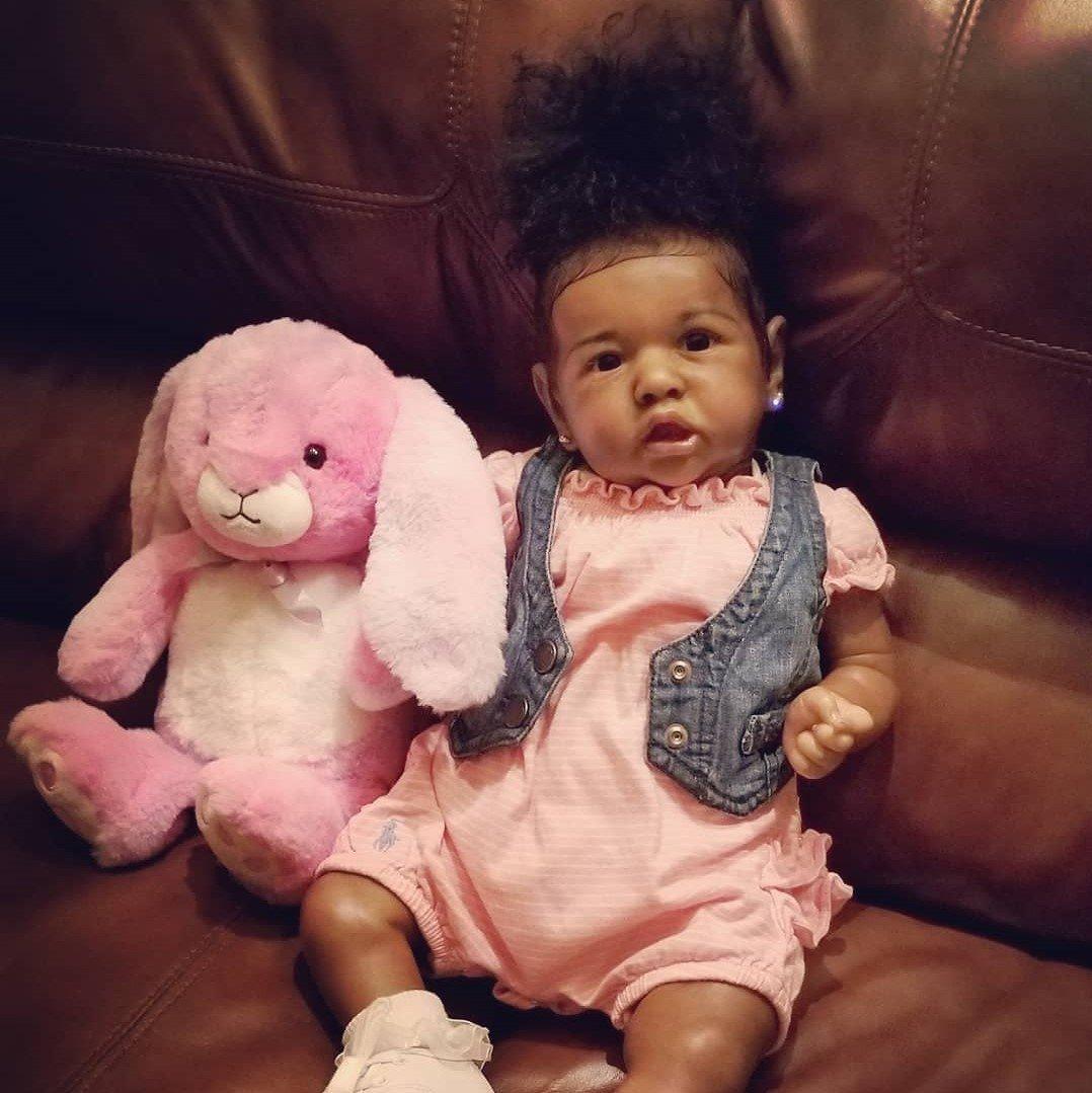 "[Heartbeat💖 & Sound🔊]22"" Truly Kisa Reborn Baby Doll Girl, Lifelike Soft Vinyl Doll, Children Gifts"