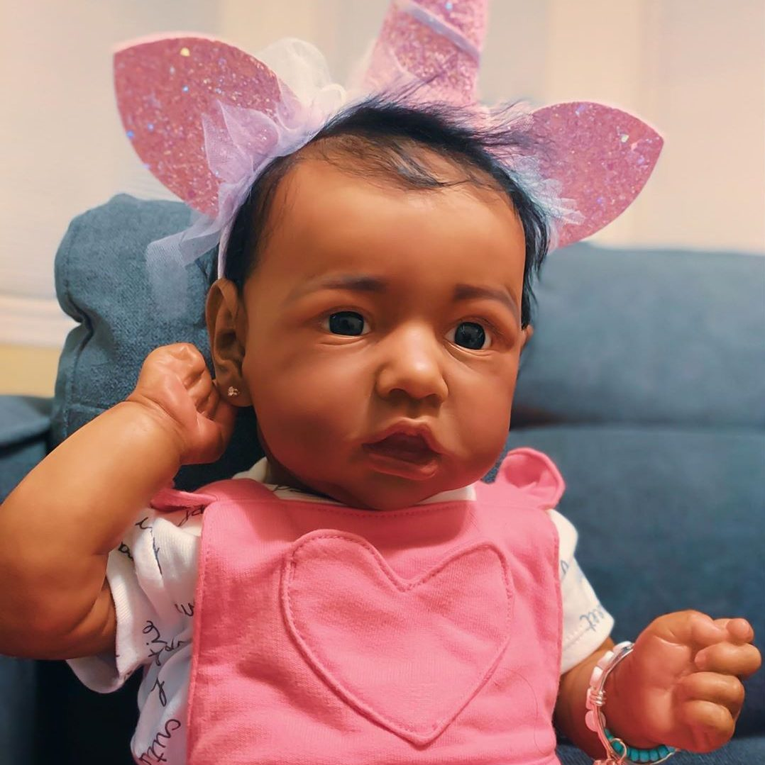 """22"""" African American Reborn Baby Toddler Doll Girl Mohe, Realistic Soft Gifts"""