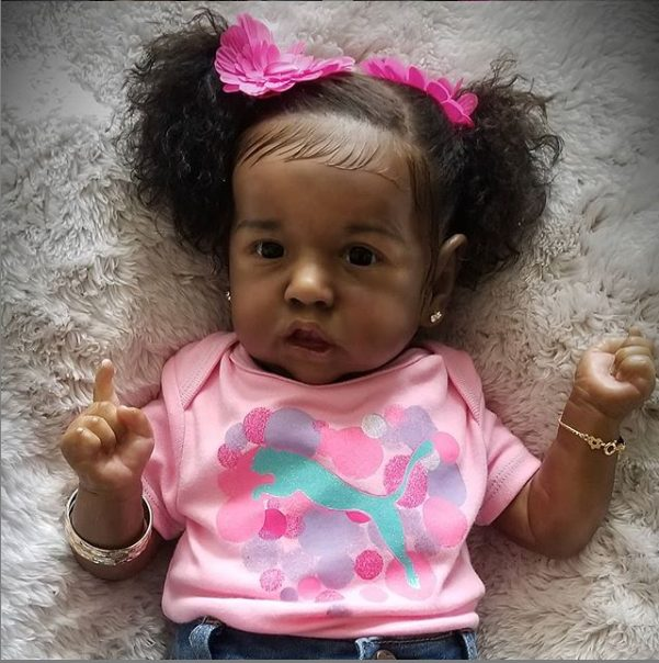 """22"""" So Real African American Reborn Saskia Baby Doll Girl Jean with Coos and """"Heartbeat"""""""