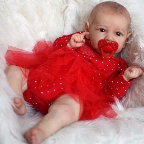 "[Realistic Handmade Gifts]22 ""Lifelike Baby Dolls With Open Close Eyes Lillian Reborn Saskia Baby Doll Girl,Realistic&Lifelike ""Red"" Newborn Baby Dolls"